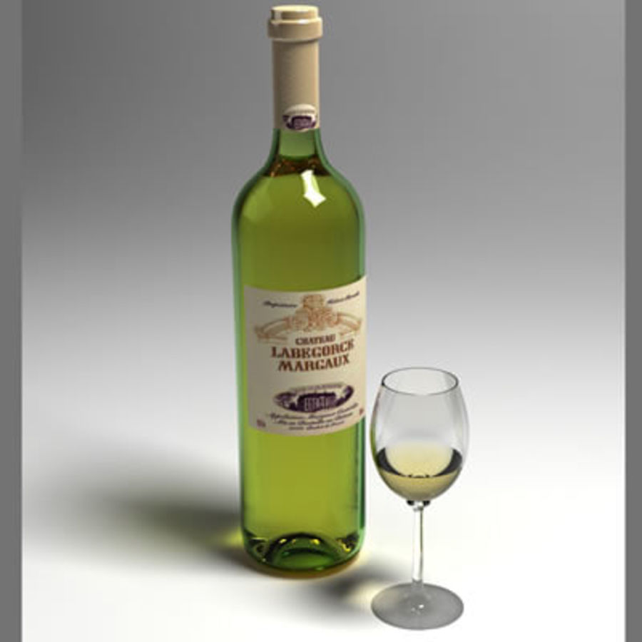 vino y copa de vino royalty-free modelo 3d - Preview no. 1