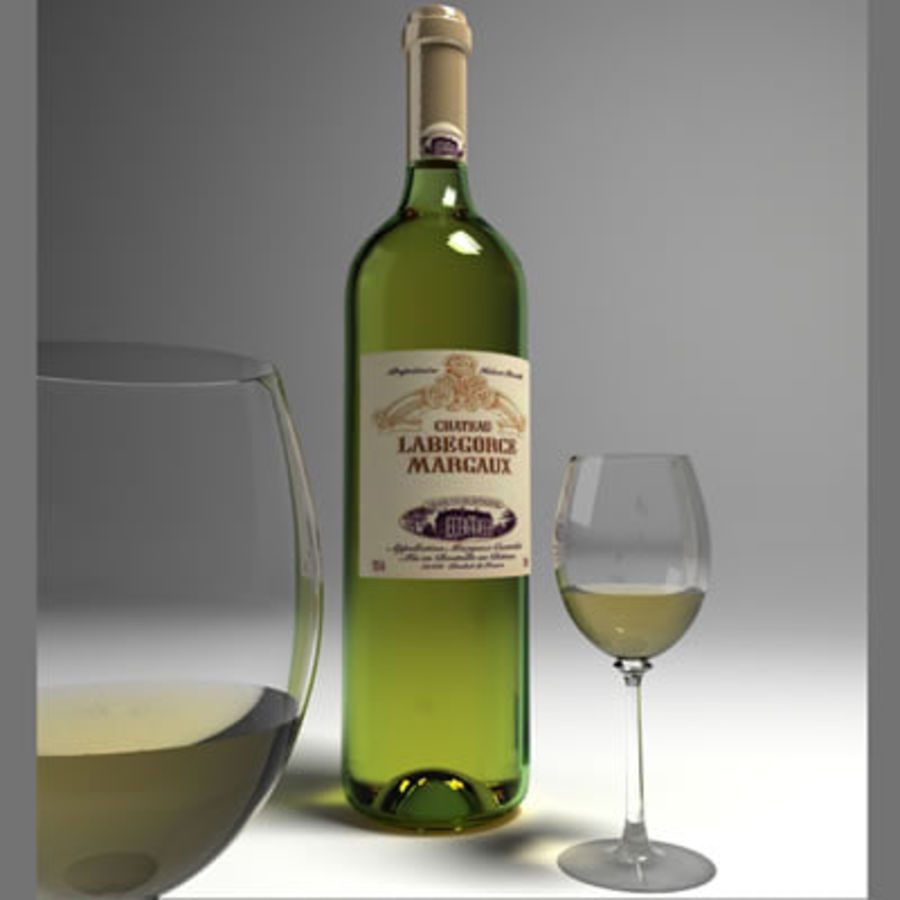 vino y copa de vino royalty-free modelo 3d - Preview no. 2