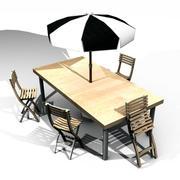 2 trädgårdsbord, stolar och parasoll 3d model