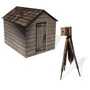 Cámara antigua y cuarto oscuro modelo 3d