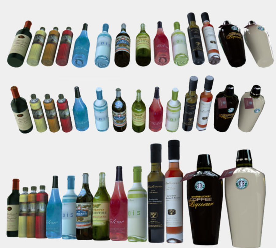 Liquer Bottles Collection 1.zip royalty-free 3d model - Preview no. 2