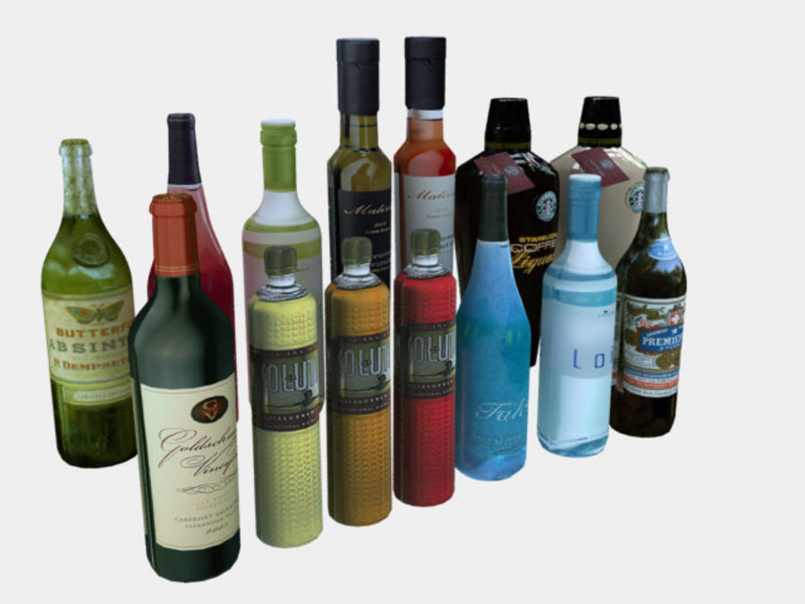 Liquer Bottles Collection 1.zip royalty-free 3d model - Preview no. 1