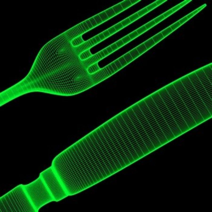 cutlery Hi royalty-free 3d model - Preview no. 7