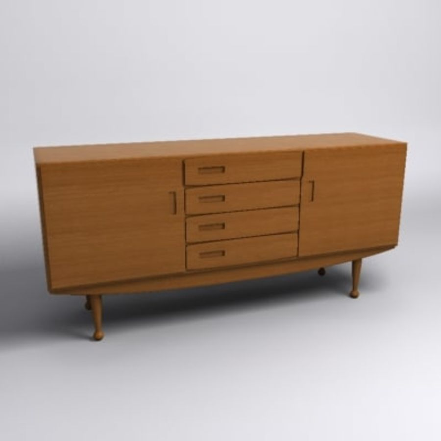 Danish Modern Sideboard royalty-free 3d model - Preview no. 1