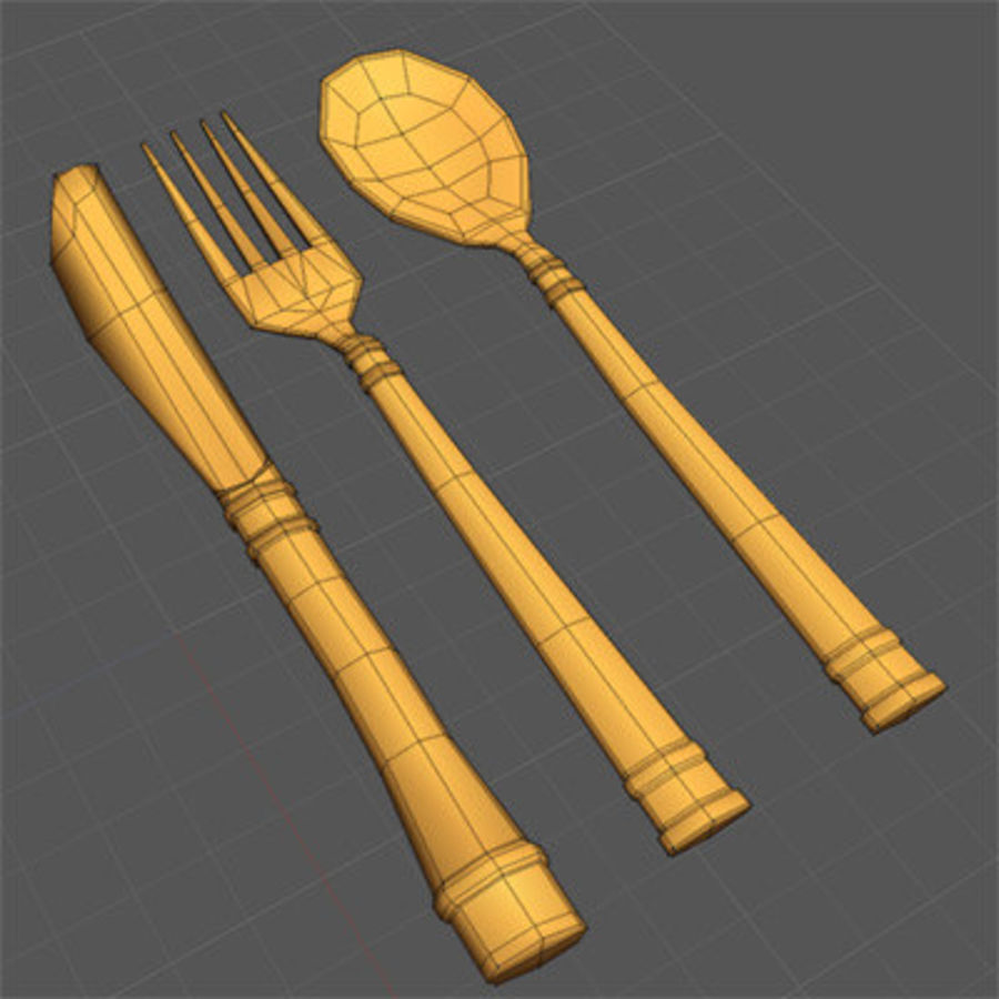Fork knife spoon royalty-free 3d model - Preview no. 2
