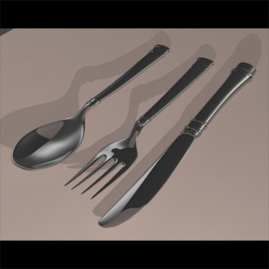 Fork knife spoon royalty-free 3d model - Preview no. 1