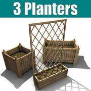 3 plantadores de madeira 3d model