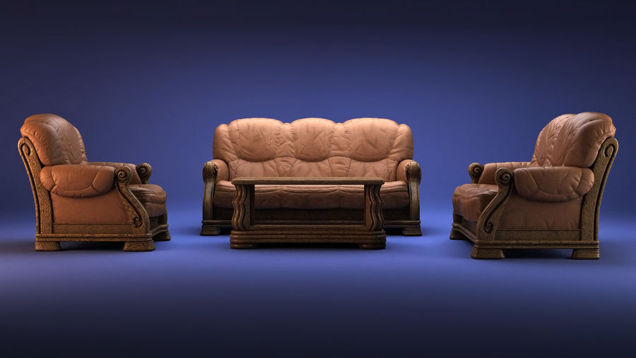 Living room furniture royalty-free 3d model - Preview no. 1