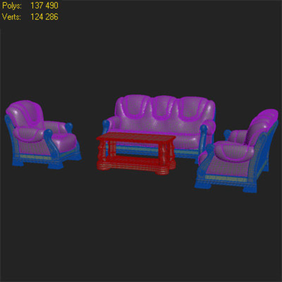 客厅家具 royalty-free 3d model - Preview no. 5