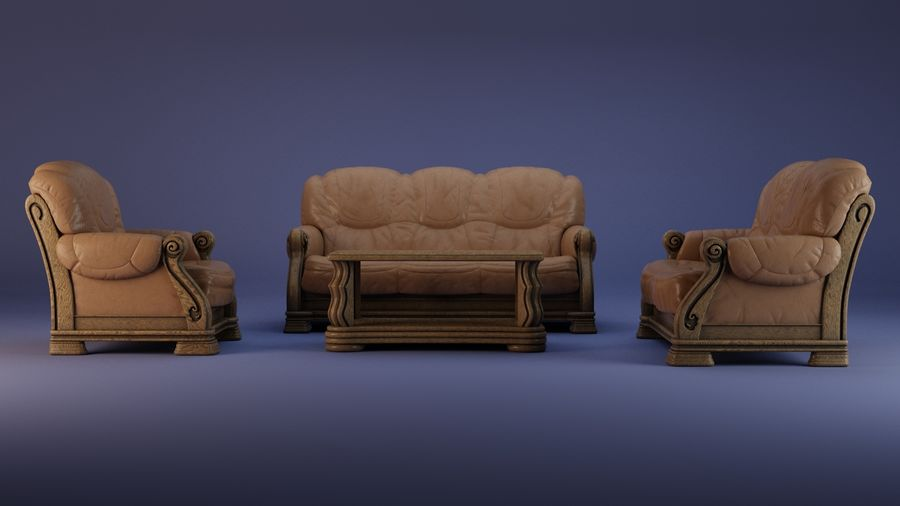 Living room furniture royalty-free 3d model - Preview no. 4