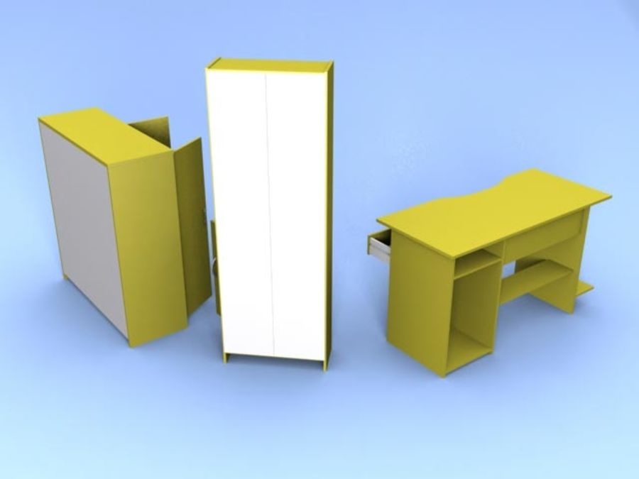 Möbel niedrig Poly royalty-free 3d model - Preview no. 5