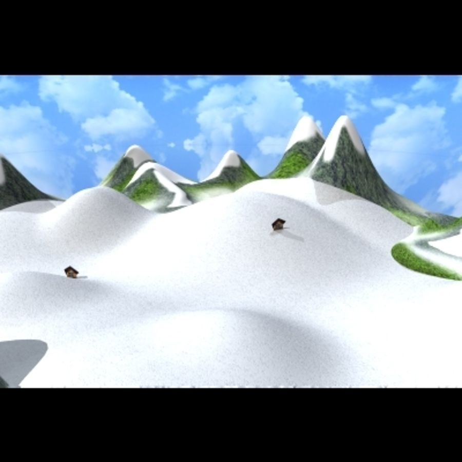 Skier And Landscape royalty-free 3d model - Preview no. 10