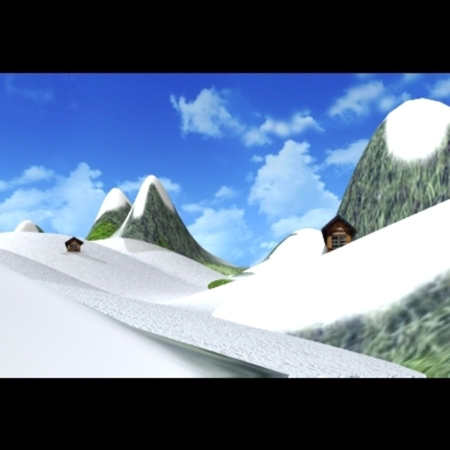 Skier And Landscape royalty-free 3d model - Preview no. 4