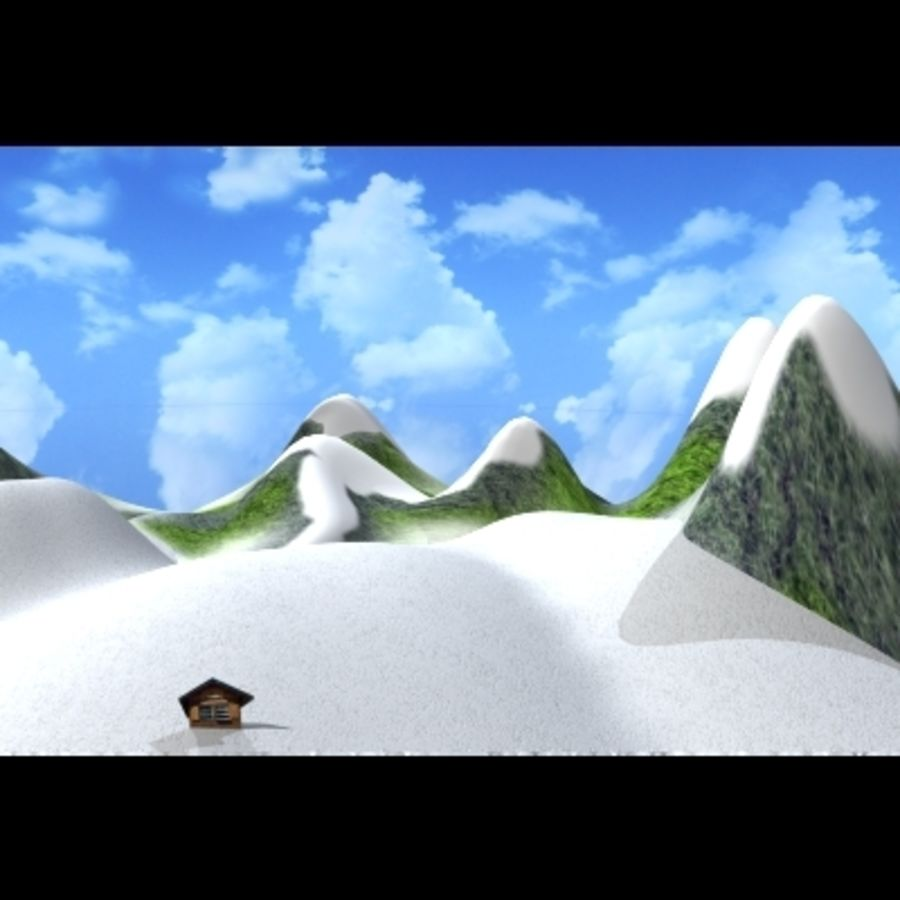Skier And Landscape royalty-free 3d model - Preview no. 2