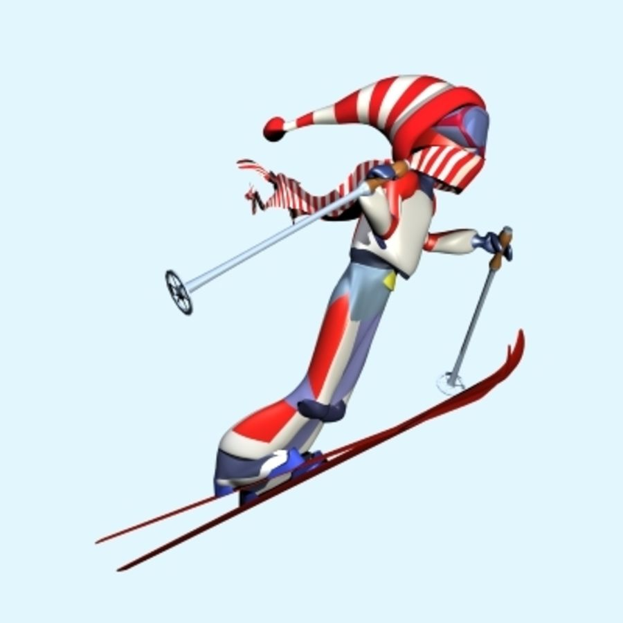Skier And Landscape royalty-free 3d model - Preview no. 7