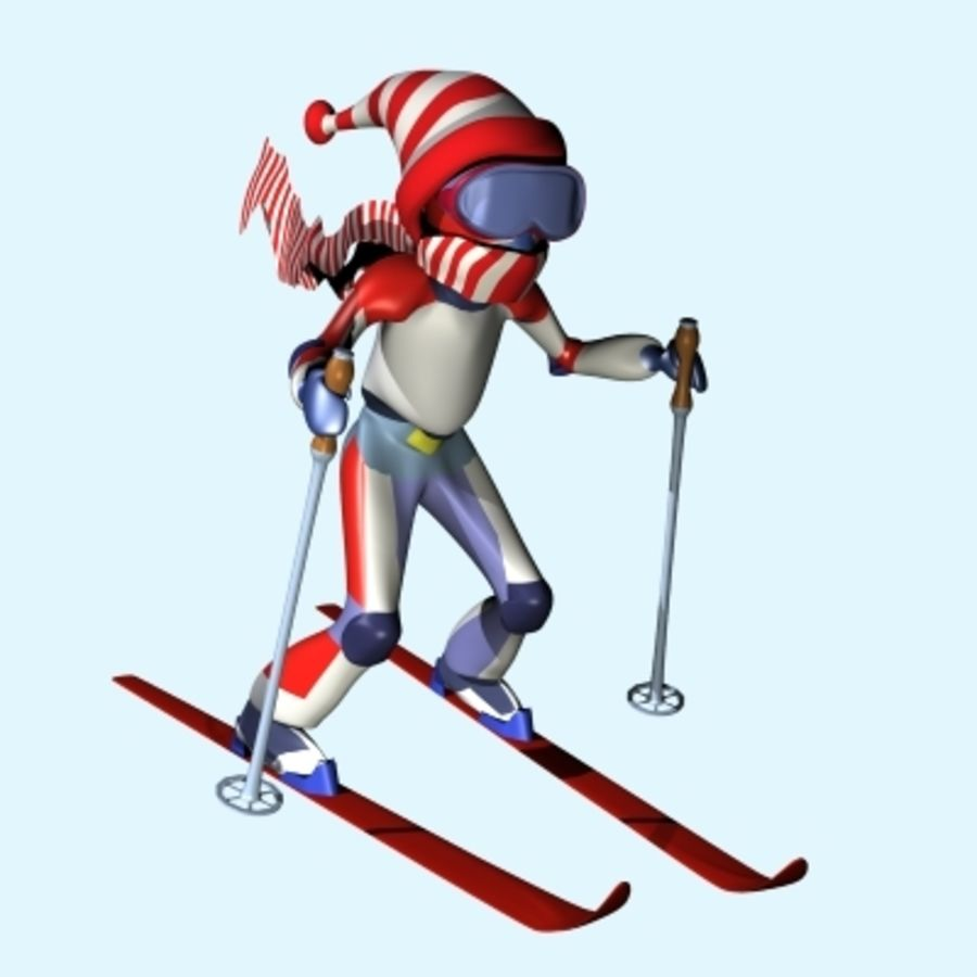 Skier And Landscape royalty-free 3d model - Preview no. 6
