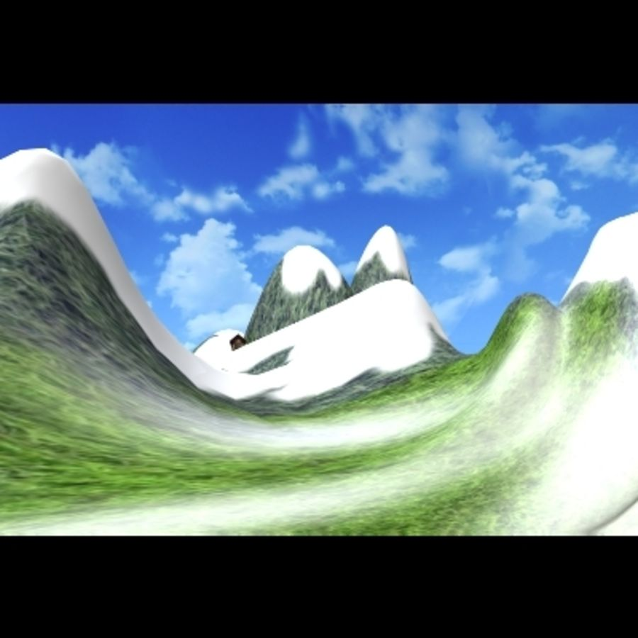 Skier And Landscape royalty-free 3d model - Preview no. 3