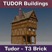 T3 - Tudor style medieval building - BRICK 3d model