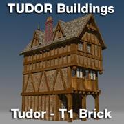 T1-Tudor style medieval building - BRICK 3d model