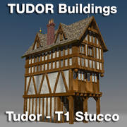T1-Tudor style medieval building - STUCCO 3d model