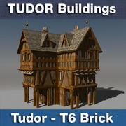 T6 Tudor style medieval building - BRICK 3d model