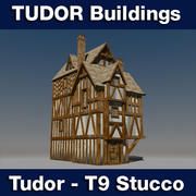 T9 Tudor style medieval building - STUCCO 3d model