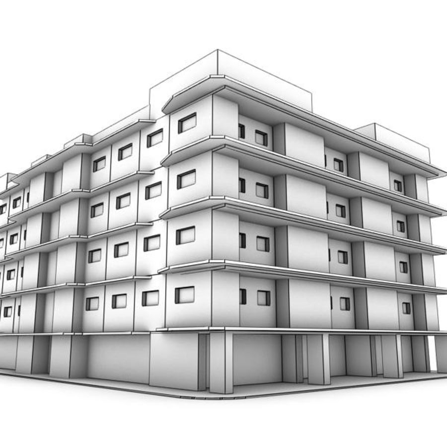 bâtiment 001 royalty-free 3d model - Preview no. 4