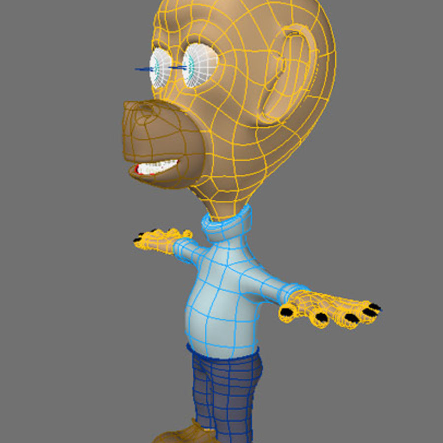 Cartoon Character Monkey royalty-free 3d model - Preview no. 3