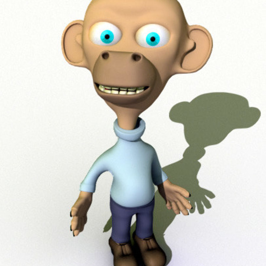 Cartoon Character Monkey royalty-free 3d model - Preview no. 1