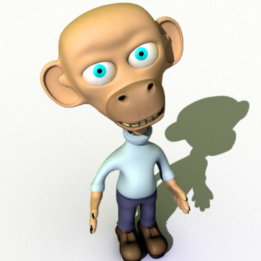 Cartoon Character Monkey royalty-free 3d model - Preview no. 2