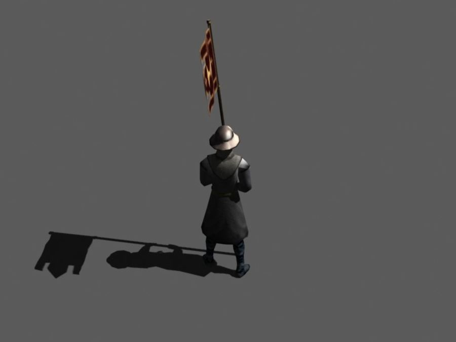 Flag bearer royalty-free 3d model - Preview no. 3
