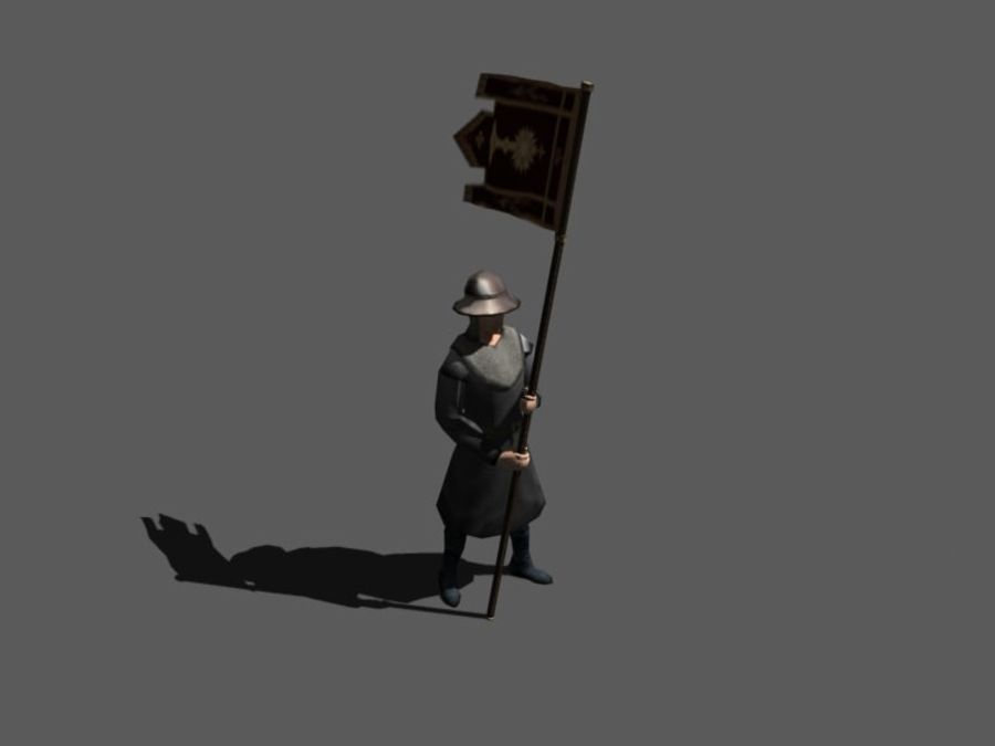Flag bearer royalty-free 3d model - Preview no. 1