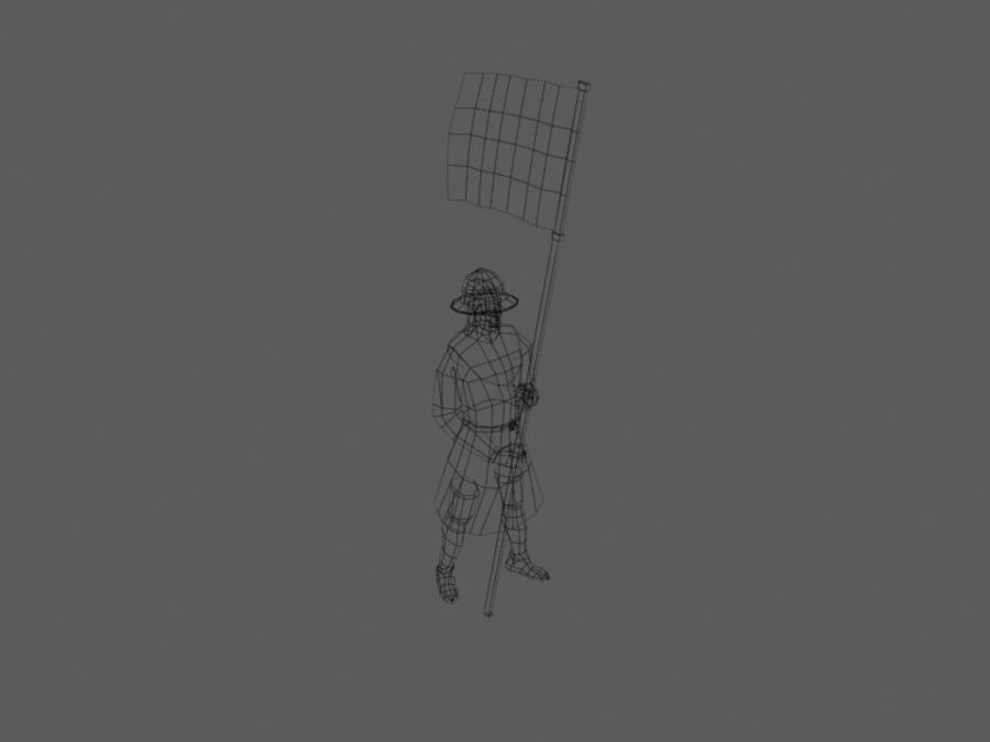 Flag bearer royalty-free 3d model - Preview no. 2