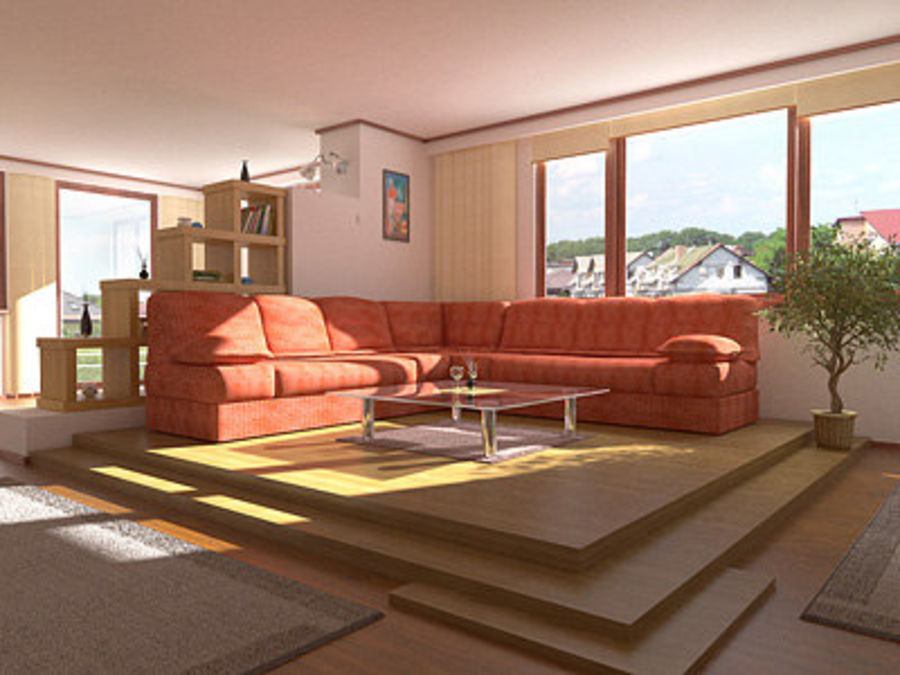 Living Room Interior royalty-free 3d model - Preview no. 1