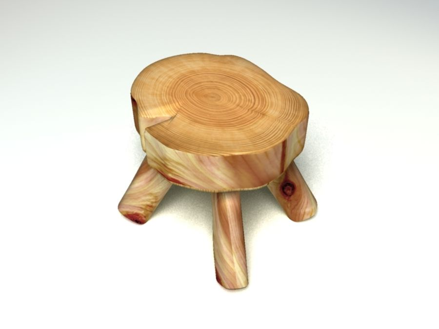 Wood Foot Stool royalty-free 3d model - Preview no. 1