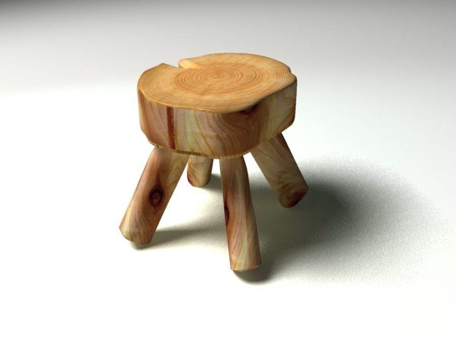 Wood Foot Stool royalty-free 3d model - Preview no. 2