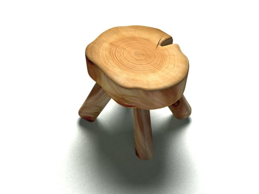 Wood Foot Stool royalty-free 3d model - Preview no. 3
