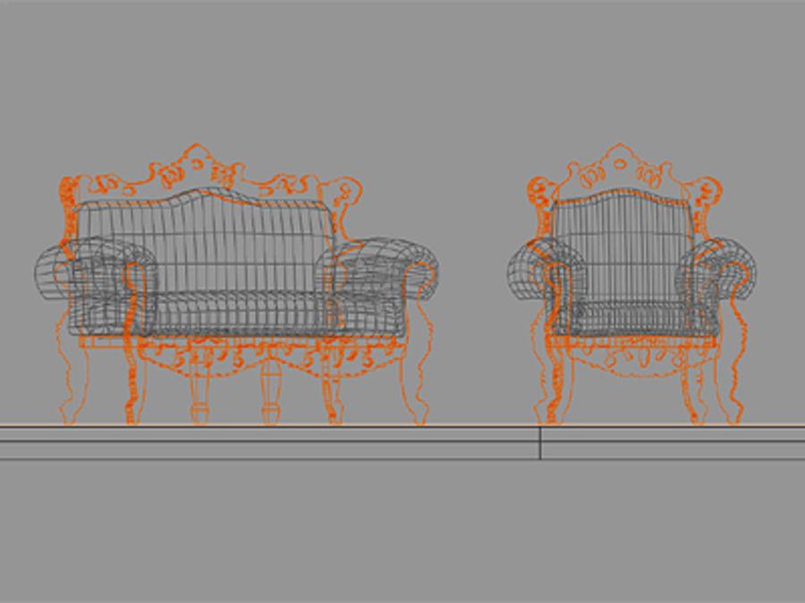 fotel z sofą royalty-free 3d model - Preview no. 4