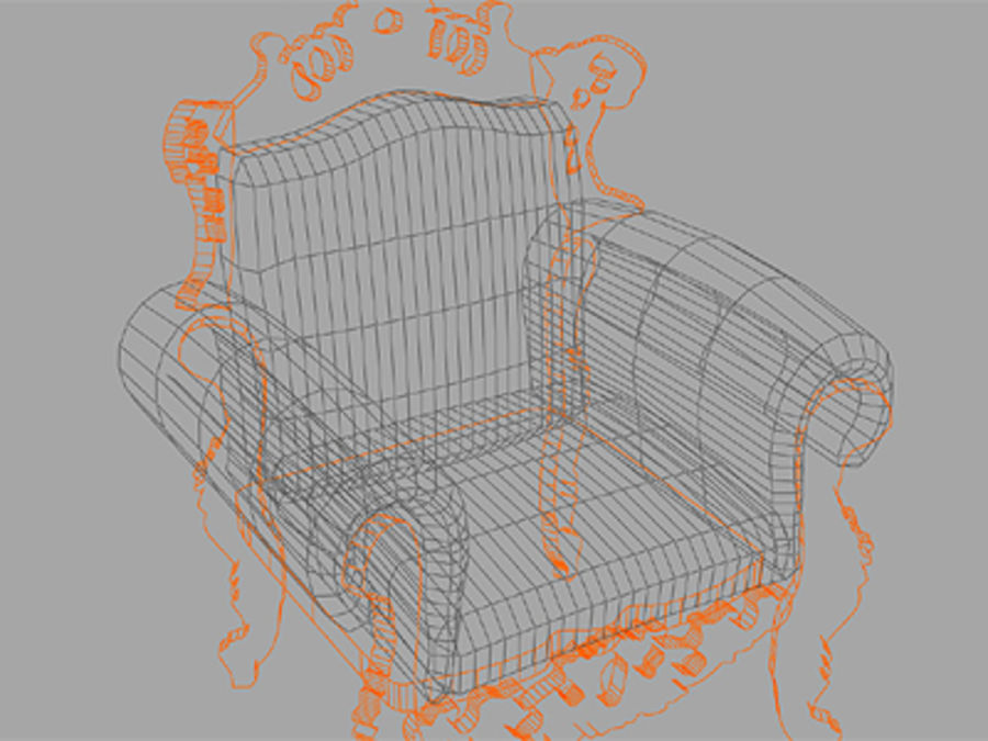 fotel z sofą royalty-free 3d model - Preview no. 3