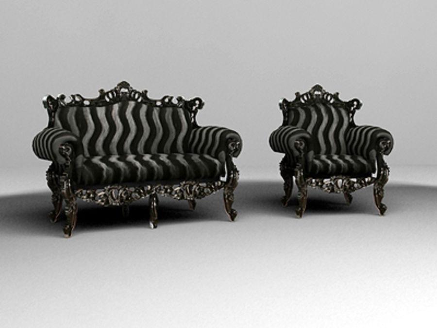 fotel z sofą royalty-free 3d model - Preview no. 1