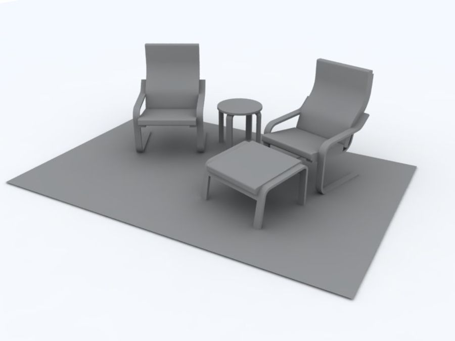 Apartment Furniture Set - Rhino and OBJ (Poly) 3D Model $9