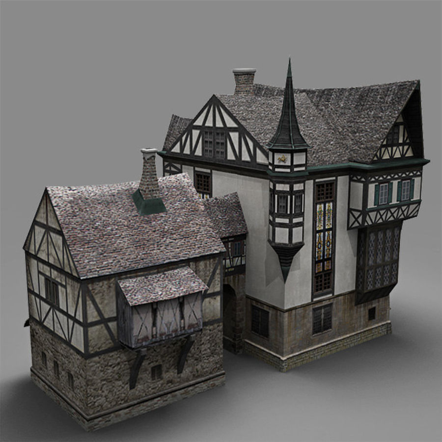 old German House royalty-free 3d model - Preview no. 6