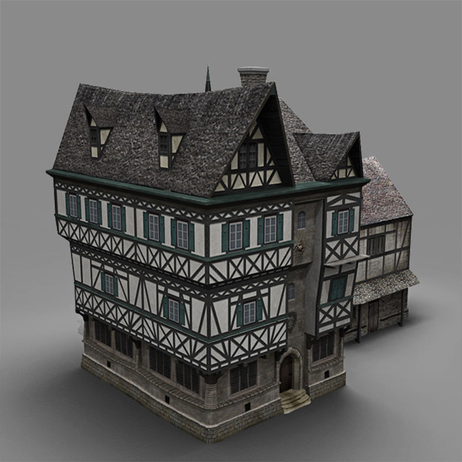 old German House royalty-free 3d model - Preview no. 3