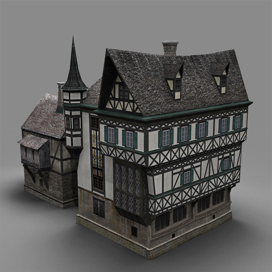 old German House royalty-free 3d model - Preview no. 4