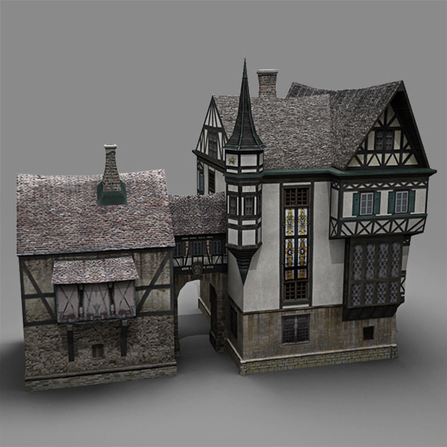 old German House royalty-free 3d model - Preview no. 5