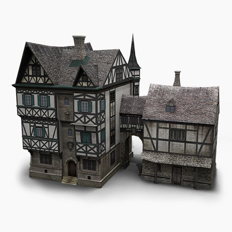 old German House royalty-free 3d model - Preview no. 1