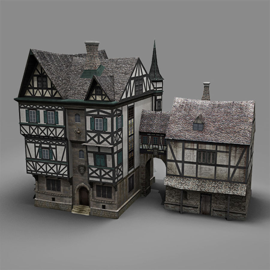old German House royalty-free 3d model - Preview no. 2