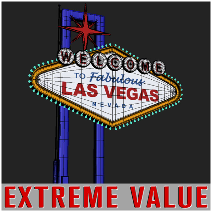 Vegas Sign royalty-free 3d model - Preview no. 5