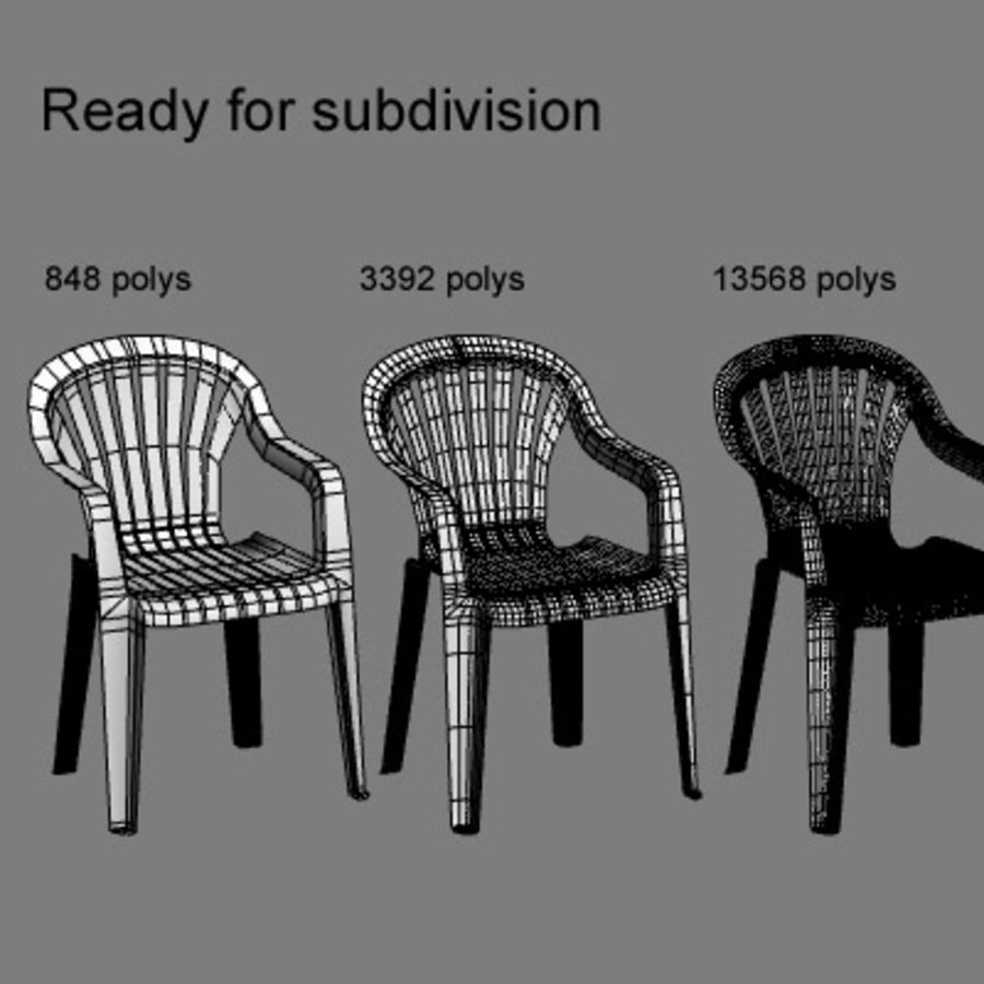Plastic chair royalty-free 3d model - Preview no. 7
