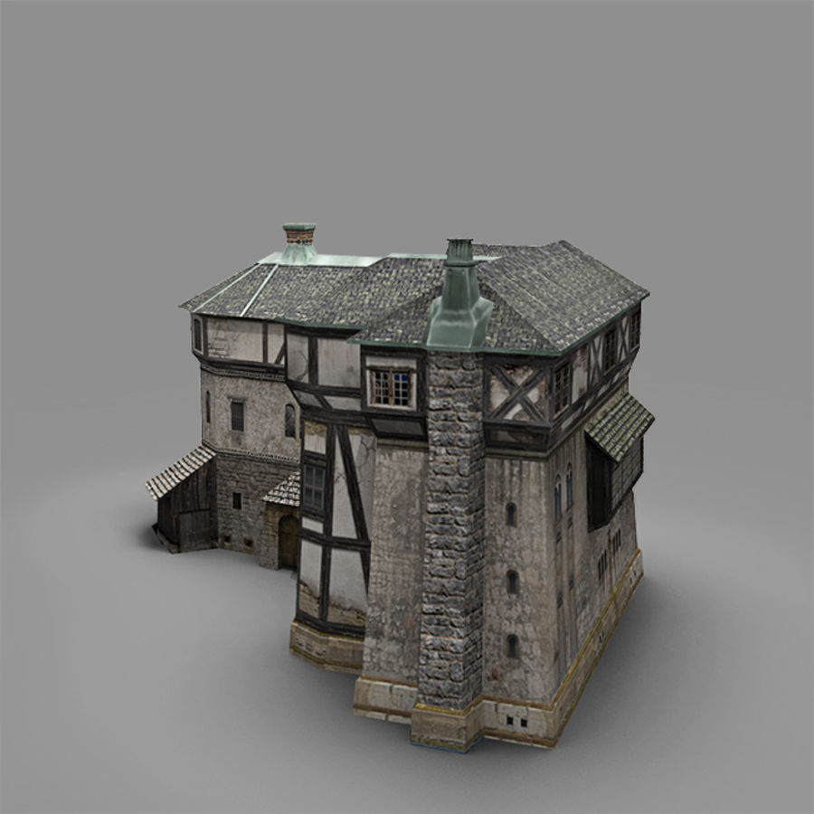 old Medieval House royalty-free 3d model - Preview no. 4
